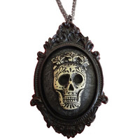 Black Sugar Skull w/ Rose Crown Cameo Necklace Day of the Dead