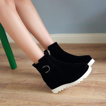 Buckle Wedges Platform Ankle Boots Women Shoes New Arrival