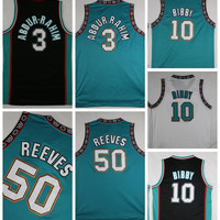 Throwback Basketball Jerseys 3 Shareef Abdur Rahim 10 Mike Bibby 50 Bryant Reeves Retro Teal White Stitched Shirts Basketball Jersey