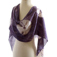 Blue silk scarf, naturally dyed shawl, Shibori Habotai, long silk scarf, logwood hand dyed, blue lilac plum. christmas gift, tie dye habotai