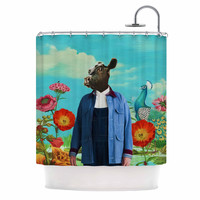 "Natt ""Family Portrait N2"" Blue Cow Shower Curtain"