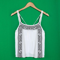 Tribal Print White Scoop Neck Camisole