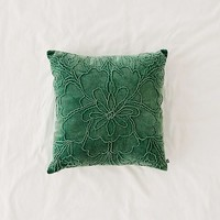 Jaya Floral Embroidered Velvet Throw Pillow | Urban Outfitters