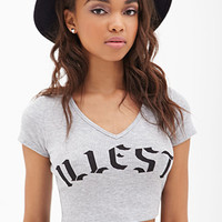 FOREVER 21 Illest Ribbed Crop Top Heather Grey/Black