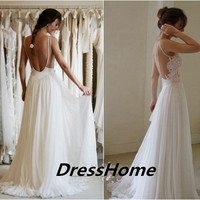 Backless Lace Wedding Dress - Long Wedding Dresses For Women / Lace Bridal Dress / Cheap Bridal Dresses