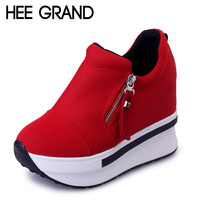HEE GRAND Wedges Women Boots 2017 New Platform Shoes Woman Creepers Slip On Ankle Boots Fashion Casual Women Shoes XWD4722
