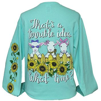 Southern Attitude What Time Goats Sunflower Long SleeveT-Shirt