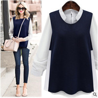 Autumn Women Mixed Color Long Sleeve Shirt Blouse Top a13105