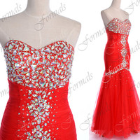 Red Prom Dresses, Red Formal Gown, Strapless with Crystals Red Tulle Long Prom Gown, Mermaid Formal Dresses, Wedding Dresses