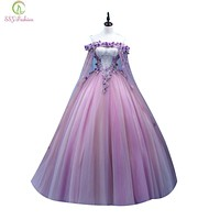 SSYFashion 2017 New Prom Dress Sweet Purple Lace Flower Boat Neck Appliques Floor-length Party Ball Gowns Custom Formal Dresses