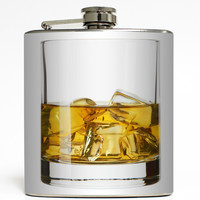 On The Rocks - Whiskey Glass Flask