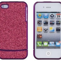 DandyCase Purple with Hot Pink Sparkles Case for Apple iPhone 4, 4S (AT&T, Verizon, Sprint) - Includes 24/7 Cases Microfiber Cleaning Cloth [Retail Packaging by DandyCase]