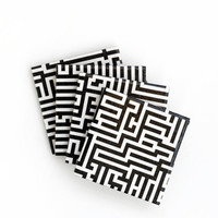 Labyrinth Ceramic Coasters Black and White Bold Graphical Modern Drink Coasters Gift for Men, set of 4