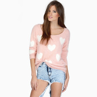 Heart Pattern  Loose Long Sleeves Mohair  Knit Sweater