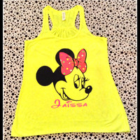 Disney Inspired Minnie Mouse Loose Fitting Neon Tank Top Perfect Fot That Trip To Disneyland Or Disneyworld Or Anytime