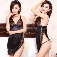 Black Hot Womens Ladies Open Side Sexy Lingerie Set Pajamas Nightgown Sexy Sleepwear Costume Thong Underwear Chemise SV003308 (Color: Black) = 1713279940