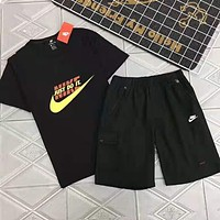 Nike Fashion Men Women Print Short Sleeve Top Shorts Set Two-Piece Sportswear Black