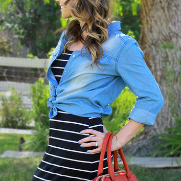 Baby Blues Denim Button-Up Top