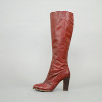 70's Leather KNEE HIGH Boots (Burgundy) US 8