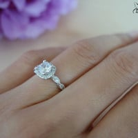3/4 Ct Halo Vintage Inspired Engagement Ring, Flawless Man Made Diamond Simulants, Art Deco, Wedding, Bridal, Promise Ring, Sterling Silver