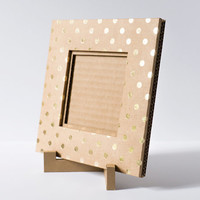 4x4 Picture Frame, Square Cardboard Picture Frame, Gold Polka Dots Picture Frame, Gold Picture Frame, Paper Photo Frame, Recycled Cardboard