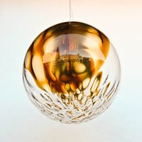 Mid Century Glass Globe Pendant Lamp / Chandelier / Bubble Ceiling Lamp / Amber Bubbled Glass