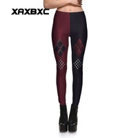 New Arrival 3753 Sexy Girl Red black Harley Quinn Suicide Squad Printed Elastic Fitness Polyester Workout Women Leggings Pants