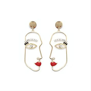 Artsy Face Colorful Gold Earrings