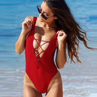Drawstring Lace One Piece Swimsuit B007852