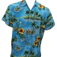 La Leela Teal Blue HAWAII PARADISE Pocket Likre Classic Hawaiian Shirt For Men