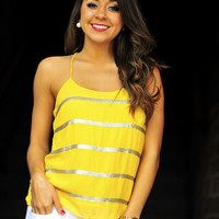 Little Miss Sunshine Tank: Yellow/Pewter | Hope's