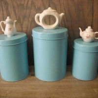 3 vintage upcycled AQUA tin canisters with TeaPot Tea Pot Finials .. Cottage chic storage