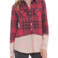 Red Plaid Bleached Out Top