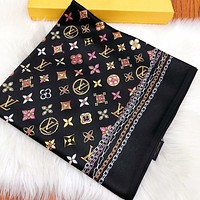 LV New fashion monogram print scarf women Black