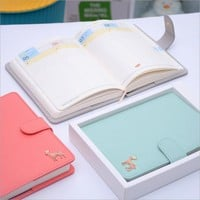 Creative Korean Faux Leather Deer 2017 Macaroon Planner Cute Student's Monthly Weekly Plan's Notebook Diary Organizer Journals