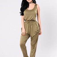 Kiss Up And Rub Up Jumpsuit - Olive