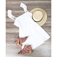 Final Sale - Bare Necessities Ruffled Sleeves Linen Dress with Off-Center Slit in White