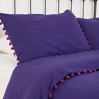 Urban Outfitters Magical Thinking Purple Pom-Fringe Duvet Full Queen 86 X 86