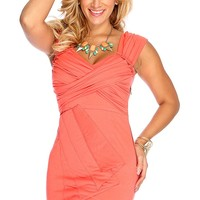 Coral Sleeveless Style Pleated Party Dress