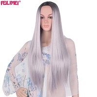 Feilimei Middle Part Ombre Gray Wig Synthetic Japanese Fiber 26 Inch 280g Long Straight Full Head Wigs for Women Hair Extensions