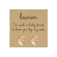 Druzy Stud Earrings for your Bridesmaids // Personalized Bridesmaids Gift- Blush