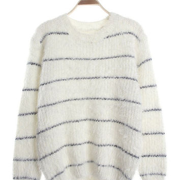 Striped Long Sleeve Mohair Sweater