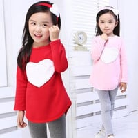 Baby Kids Girls Heart Long Sleeve Top Shirts Headband Leggings 3Pcs 2-7Y Outfits = 1714245188