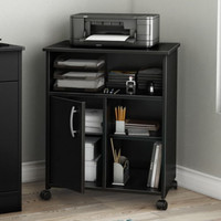 Classic Printer Stand With Adjustable Shelves Home Office Furniture Black Finish