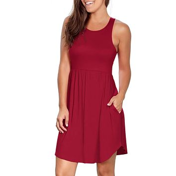 Womens Dresses Summer Casual Loose Swing Sundress With Pockets
