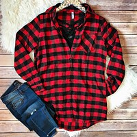 Red and Black Buffalo Plaid Button Down Top