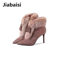 Jiabaisi shoes women's Tassels Rabbit Real fur Pointed toe Ankle winter boots Zipper classic Shank Women's heel booties