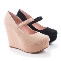 Christy16 Almond Toe Mary Jane Platform Wedges