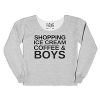 Shopping Ice Cream Coffee And Boys-Female Heather Grey T-Shirt