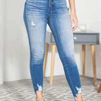Jane Frayed Hem Distressed Denim Jeans